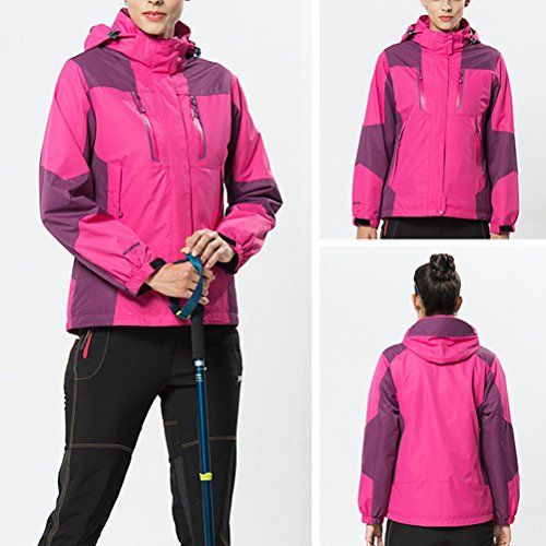 Zhhlinyuan Outdoor Softshell Hooded Casual Outwear Two pieces Womens Des sports Waterproof Jacket Rose Red