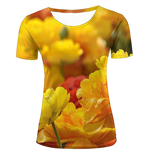 JINGTEE 3D Tshirts Women Flower floral Yellow Casual Graphics Tees M