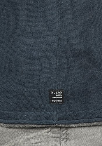BLEND Odin Herren Feinstrick Pullover Strick-Pulli mit Rundhals-Ausschnitt aus 100% Baumwolle Mood Indigo (74648)