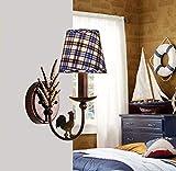 Luces de pared de la habitación de los niños a cuadros europeos American Iron Countryside Habitación de los niños Dormitorio Lámpara de pared creativa