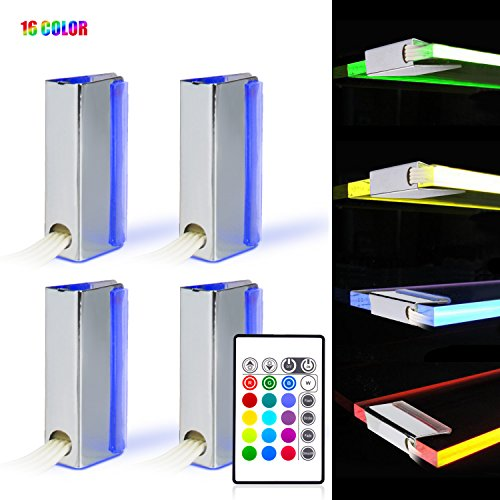 RGB LED Glasbodenbeleuchtung, LED Vitrinenbeleuchtung 4er Set LED Clips mit Fernbedienung Vitrine Beleuchtung Farbwechsel Möbelbeleuchtung led