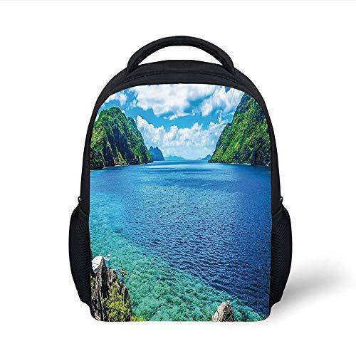 Kids School Backpack Nature,Scenic View Sea Bay Mountain Islands in Palawan Philippines Idyllic Image,Blue Green White Plain Bookbag Travel Daypack (Green Bay Transfer)