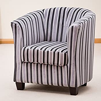 Sofa Collection Brand New Francois Striped Tub Chair/Armchair Seating,  Fabric, Grey, 72 X 71 X 78 Cm