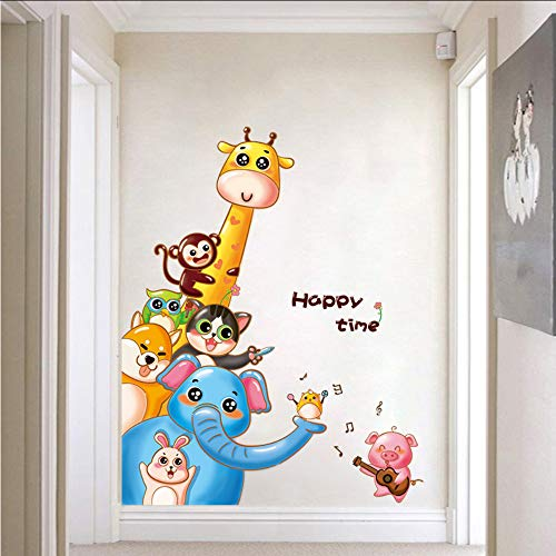 (Makeyong Affe-Elefant-Giraffenschwein Der Karikaturtierwandaufkleber Singt Musiktapeteneingangshalle-Wohnzimmerhauptdekor)