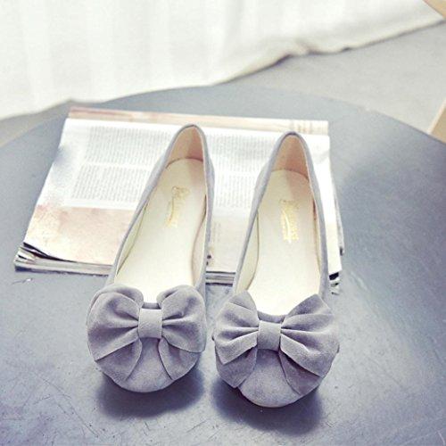Koly_Donna molla piatta Ballet Shoes scarpe di moda slittamento fannulloni pattini dei piselli Scarpe Grigio