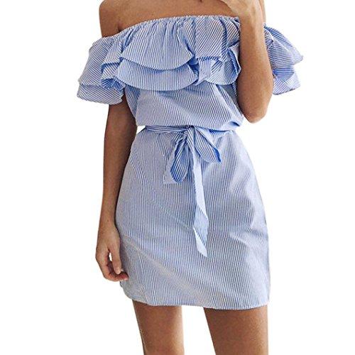 Bovake Frauen-Sommer-gestreifte weg von der Schulter Rüschenkleid mit Gürteln (XL, Blue) (Gestreifte Verziert)