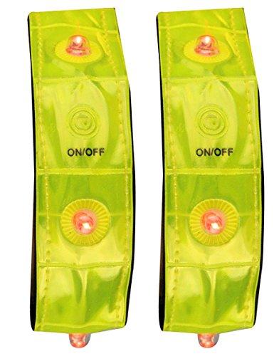 Hampton Vier Licht (Schreuders Sport Unisex Avento Reflektierende Sportarmband mit 4Leuchten, PVC, 2Paar, Gelb, One size)