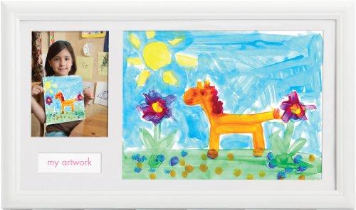 Imagen 1 de Pearhead - Marco de fotos con espacio para un dibujo del niño, color blanco