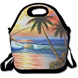 Sunset Beach Oil Painting Lunch Boxes Waterproof Picnic Messenger Bag With Zipper And Adjustable Crossbody Strap Customize