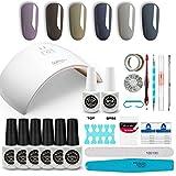 GirlyDream Kit Professionnel Manicure Semi-Permanent Gel, Lampe UV/LED 36W Sèche ongles, 6 Couleurs Vernis Gel, Base Coat & Top Coat Primer Complet Accessoires pour Nail Art #004