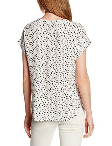 Tom Tailor Denim S-Less Printed Blouseshirt, Blouse Femme, Small Avorio (off white 8005)