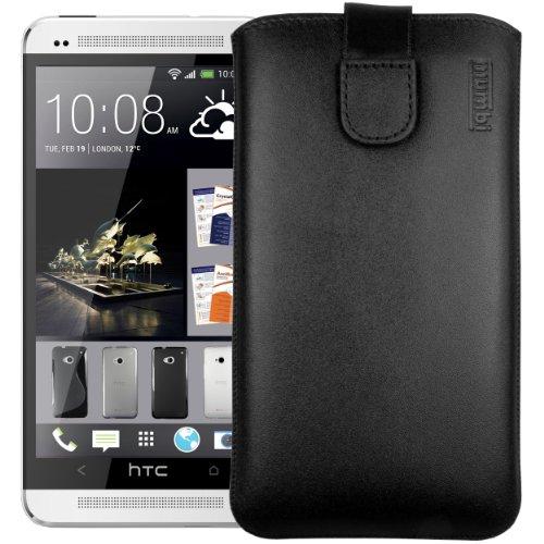 mumbi ECHT Ledertasche für HTC One Tasche Leder Etui (Lasche mit Rückzugfunktion Ausziehhilfe) (NICHT HTC One M8) - One Fällen Htc Amazon