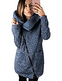 Tomwell Manteaux Hiver Femme Grande Taille Veste à Capuche Manteau Long  Fermeture éclair Sweatshirt Pullover Casual c28d4fa1c32