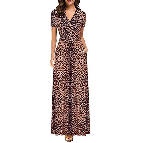 Kleider Sommer,Kleid Damen Elegant 2019 Neue Damenmode Kurzarm Kleid V-Ausschnitt Leopardenmuster Langes Dünnes Kleid Partykleid Von Evansamp(Braun,M)