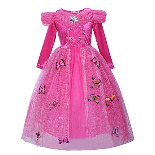 Beunique Rosa Mädchen Kleid Prinzessin Kostüm Schmetterling (Bella Kostüme Vampir)