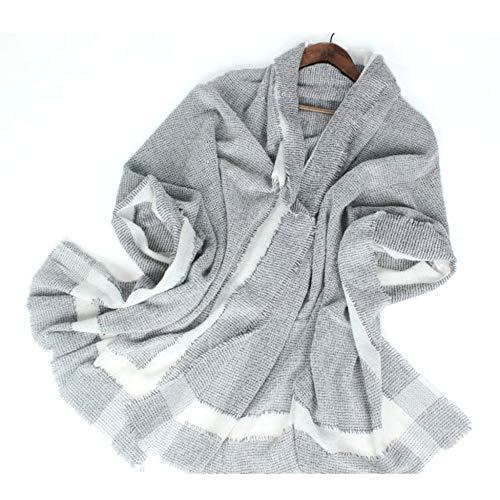 GAOQQ Kaschmir-Schal Für Frauen, Gestreifte Colorblocked Wollmischung Mid-Thick Herbst Und Winter Schal,Grey - Gestreifte Wrap Cardigan