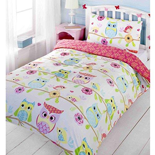 Eule und Freunde Junior Bettbezug und Kissenbezug Set (Eule Bettwäsche Für Mädchen Schlafzimmer)