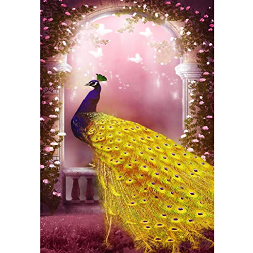 cicikiki Gold Feather Peacock with Butterfly 5D DIY Full Diamond Painting Embroidery Drill Mosaic Needlework Cross Craft Stitch Kit Home Decor
