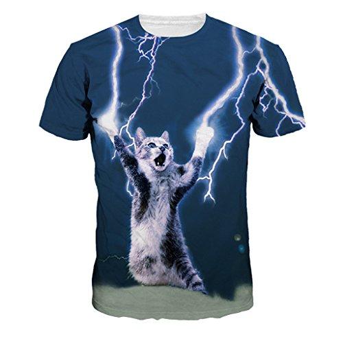 Für T-shirts Nette Männer (Frauen Nette Katze Hellen Blitz Gedruckt Kurzarm Shirt Tops)