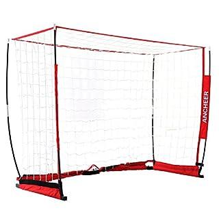 ANCHEER Portable Football Nets & Soccer Goal for Backyard, 12 x 6 ft & 6 x 4 ft Bow Football Netting Soccer Practice Net for Kids & Adults