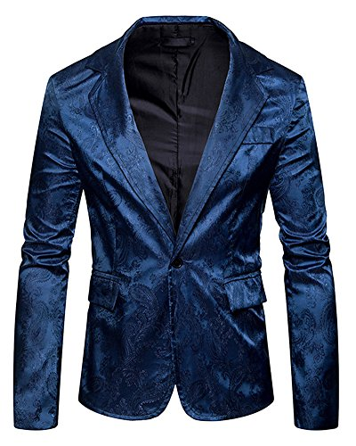 Slim fit uomo casual elegante vestito di affari cappotto stampato giacca blazers top outwear blu navy s