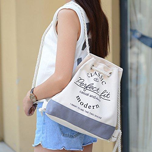 BYD - Female Unisex secchiello Bag Rope Strap Shopping Bag Travel Bag Fashion Bag Borse Tote Shouder Bag Grigio