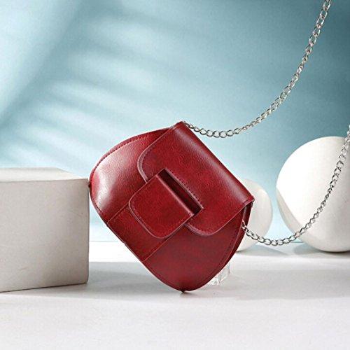 Saingace Art- und Weisefrauen-lederner Kettenhandtaschen-Kreuz-Körper-einzelne Schulter-Telefon-Münzen-Beutel Handtaschen Schultertasche Wein