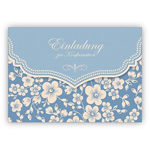 Hellblaue Vintage Einladungskarte mit Retro Kirschblüten Muster für Mädchen: Einladung zur Konfirmation
