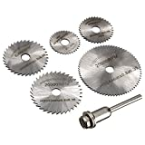 #2: EzLife 6pc HSS Circular Saw Blade Set For Metal Rotary Tools (5 Blades & 1 Extention Rod)