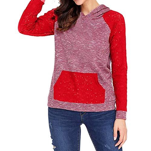 Dorical Damen Lässige Mode Herbst Langarm Spitze Sport Sweatshirt Kapuzen Bluse Tops T-Shirt Ausverkauf