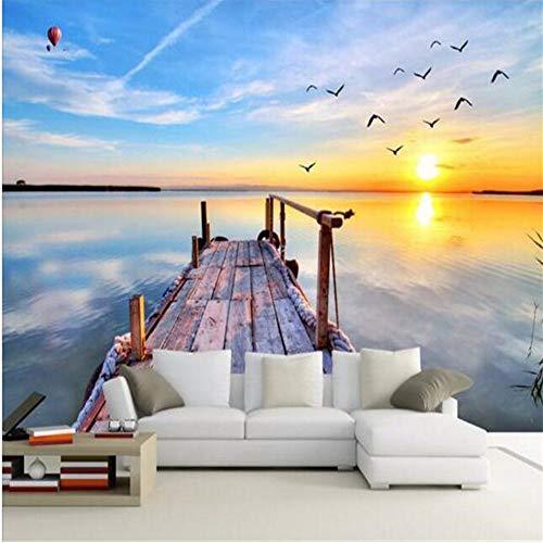 3D Große Wand Tapete Wandbild Hd Seevogel Küste Dock In Den Frühen Morgenstunden Sonne Funkelt Hintergrund Seidenfoto W300xH210CM