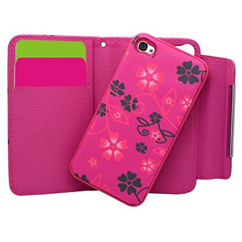 Samrick Dragonne et Étui Dur Amovible pour Apple iPhone 4/4S Rose Noir Rose Noir