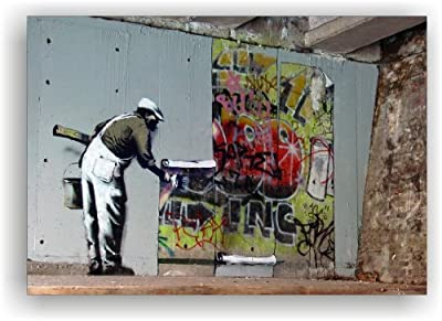 'Banksy' Wall Picture/Art Print on Canvas Stretcher Frame Canvas 100 x 70 cm Ready to Hang! B19 - cheap UK light shop.