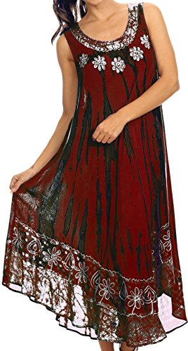 Sakkas 15009 - Alexis gesticktes langes ärmelloses BlumenCaftan Kleid/Cover Up - Rot - OS