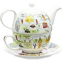 James Sadler Dos tazas en una con forma de tetera, colección Londres Tea for one diseño de mapa multicolor, 200ml