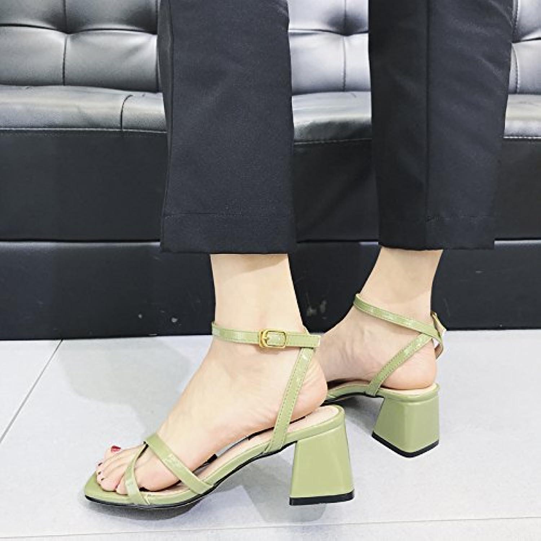 YMFIE Moda Casual de Verano para Mujer Correa de Correa Cruzada Cómoda Sandalias de Tacón Abierto Dedo del pie... -