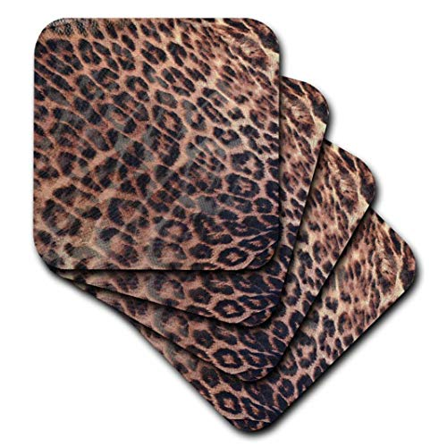 2 Leopard Print Waves-Animal Print-Nature-Soft Untersetzer, Set von 8 ()