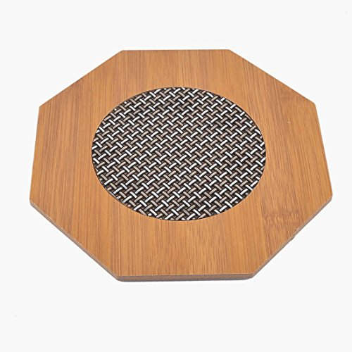 Ametsus Natural Bamboo Home Kitchen Table Heat Pad Stand Trivet Pot Holder Heat Resistant Mat Protector For Coffee Tea Hot Pots Bowl Pan Cookware etc. (2x Hexagon)