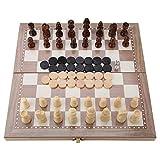 Holz 3-in-1 Schach Backgammon Halma Faltbar Tragbar Reise TischplatteSpielzeug für Kinder Erwachsene