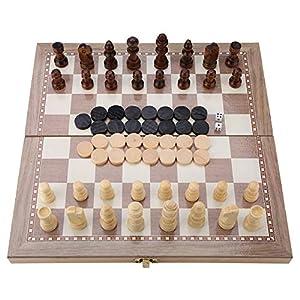 3 in 1 Scacchi e Dama e Backgammon in Legno Gioco da Tavolo Portatile Pieghevole Viaggio Scacchi Gioco Board Dama, Western Doppio Chess Set-11.54 * 11.42in
