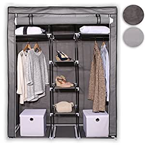 tresko armoire en tissu 170 x 140 x 45 cm armoire de rangement penderie dressing pliant armoire. Black Bedroom Furniture Sets. Home Design Ideas