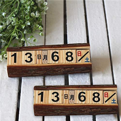 JINYANG Dekoration 2 STÜCKE Kreative Holzwürfel Ewiger Kalender Schreibtisch Dekorationen, Größe: 16 * 6 * 5 cm