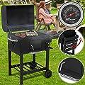 broil-master BBQ Holzkohlegrill | mit Rollen und Temperaturanzeige, aus Stahl, Schwarz | Smoker, Holzkohle Grillwagen, Grillstation, Barbecue Grill, Kohlegrill