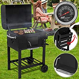 Barbecue a Carbonella – Trasportabile con 2 Ruote, Acciaio, Nero – Griglia a Carbone, Grill Portatile, BBQ Smoker
