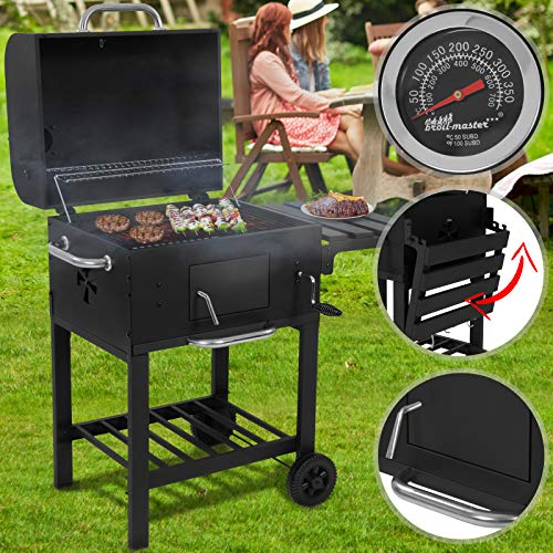 broil-master® Charcoal BBQ Smoker | with Wheels & Heat Indicator, Steel, Black | Barbecue, Portable Grill Wagon, Garden, Camping, Outdoor
