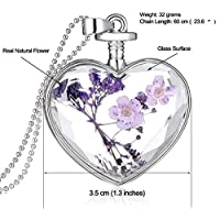 Purple Dry Flower Glass Lovers Heart necklace for women Silver ladies Pendant Necklaces