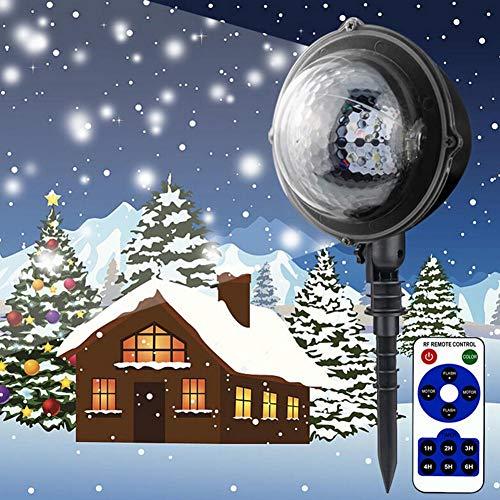 (SUNSETGLOW LED Outdoor Schneefall Weihnachtsbeleuchtung Fernbedienung Snow Falling Light Projektor Schneeflocke Urlaub Licht Wasserdichte Outdoor-Dekorationen Beleuchtung für Hausgarten)