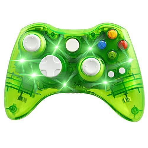 Kabelloser Controller für Xbox 360 Konsole & PC Windows 7/8/10, transparente Hülle, Schlüsselverbesserung, 3 Modi, blendende LED transparent/Grün