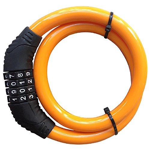 Hannuo Bike Lock Kabel, 4-stellig rückstellbare Kombination Sicherheit Kabelschloss Self Coiling Kabelschloss Fahrrad Fahrradschloss ohne Montagehalterung 2 Füße x 1/2 Zoll (orange) -