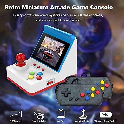 Cooljun Retro Spielkonsole Mini Arcade-Spiel Retro-Maschinen für Kinder mit 360 Classic Video Games Heimreise Tragbares Spielesystem Kinder Tiny Toys mit 2PCS Joystick (3.0 Zoll, Weiß)